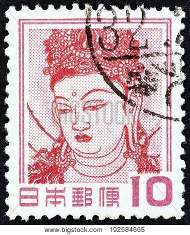 JAPAN - CIRCA 1954: A stamp printed in Japan shows Kannon Bosatsu (detail of wall painting, Horyu Temple), circa 1954.