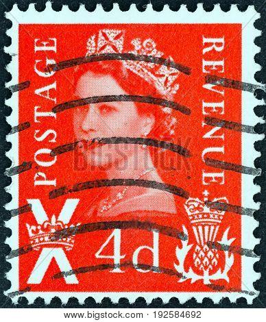UNITED KINGDOM - CIRCA 1958: A postage stamp printed in Scotland shows Queen Elizabeth II, circa 1958.