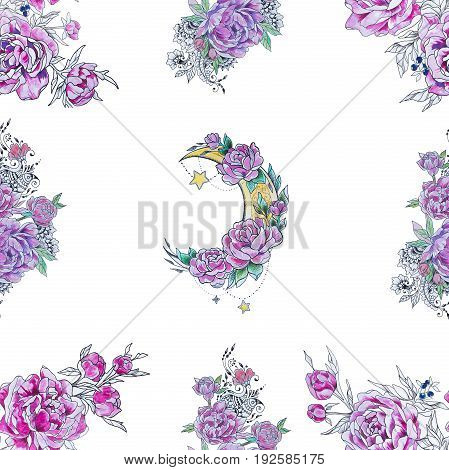 Seamless crescent pattern in flowers and peonies on white background.