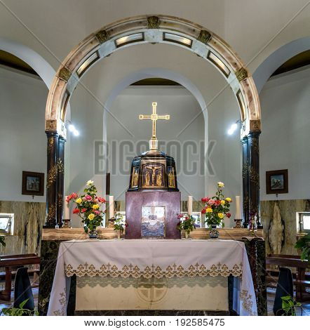 SEA OF GALILEE, ISRAEL - MAY 15: Interior of the Church of Mount of Beatitudes near Sea of Galilee in Israel on May 15, 2017
