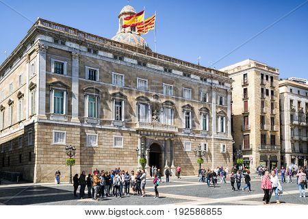 BARCELONA SPAIN - APRIL 20: Palace Palau de la Generalitat de Catalunya on April 20 2017 in Barcelona