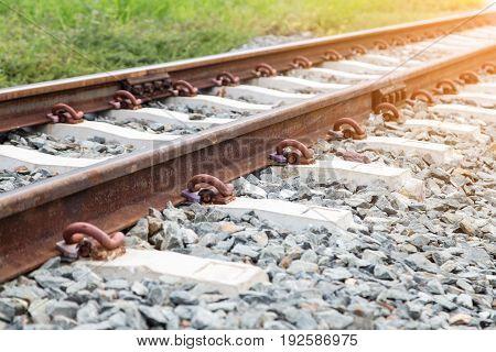 the old rusty railway track and rail sleeper