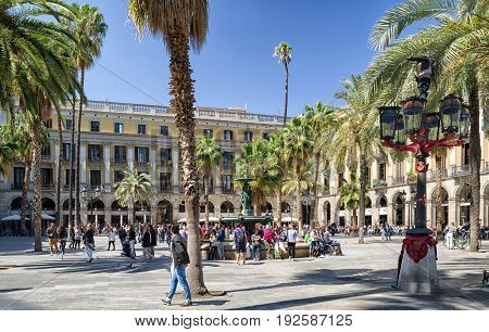 BARCELONA SPAIN - APRIL 20: Square Plaza Real in gothic quarter on April 20 2017 in Barcelona