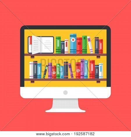 Bookshelves with books on computer screen. Desktop PC with books on shelves. Digital online library,  Modern concept for web banners, websites. Creative flat design vector illustration