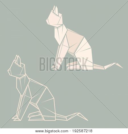Set vector simple illustration paper origami and contour drawing of cat.