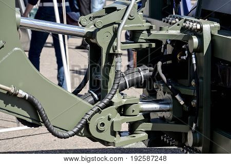 Hydraulic coupler close up. war car photo
