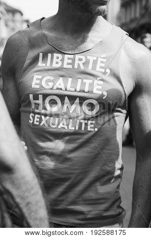 Detail Of T-shirt At Pride Parade 2017 In Milan, Italy