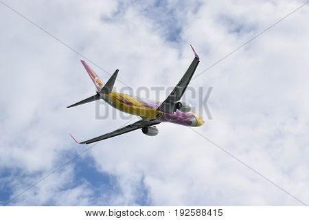 Phuket, Thailand. May 27, 2017. Nok Air Taking Off From Phuket International Airport
