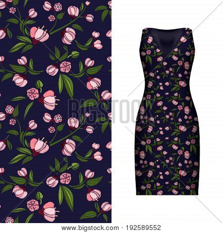Vector seamless embroidery, floral pattern of leaves and rose on classic black women's dress mockup. Vector illustration. Hand-drawn ornate pattern