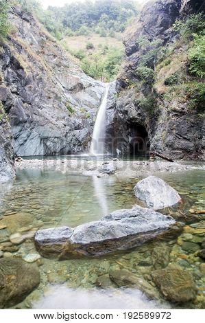 Waterfall jump named Goja del Pis Almese near Turin (Italy)
