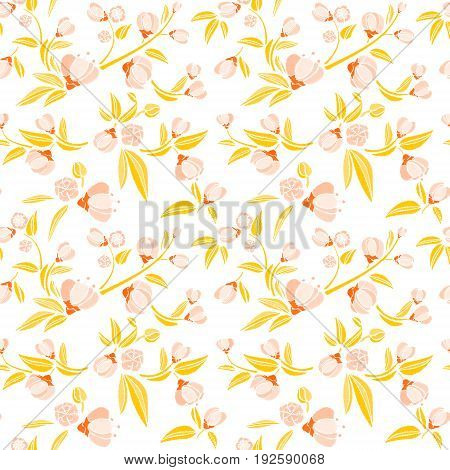 Seamless pattern of gold small flowers like piones on a white background. Embroidery ethnic floral background. line design fashion wearing. Vector vintage, decorative element for patches and stickers