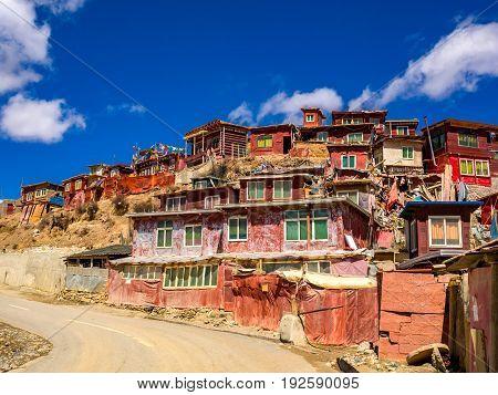 House of buddhist monks in Yarchen Gar Monastery Sichuan China