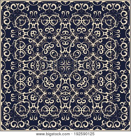 Blue Handkerchief With Colorful Ornament