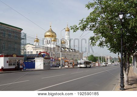 Rostov-on-Don Russia - June 182017: Pedestrians walk along Moscow street and transport moves