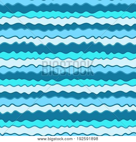 Colorful hand drawn seamless blue sea waves pattern, marine texture for textile, bath and swim suits covers, wrapping paper