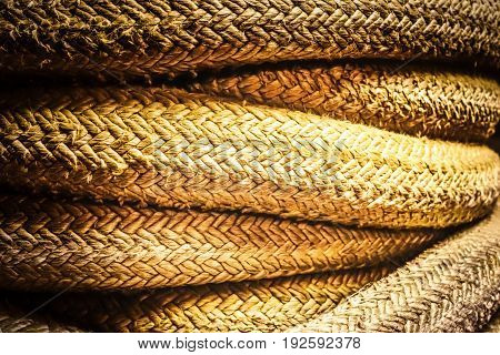 Coiled ropes on the inside of a retired US Navy ship.
