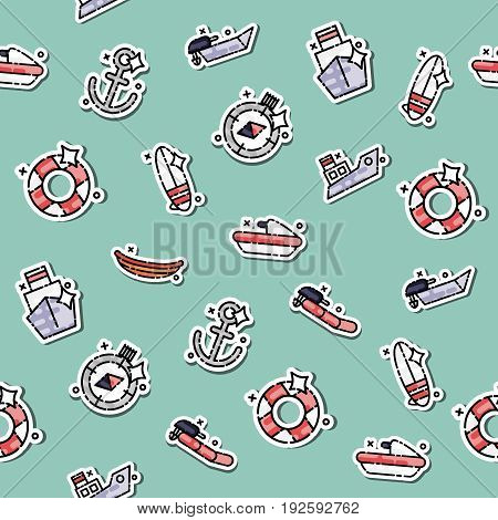 Colored Sea transport concept icons pattern. Ship transport. Vector illustration, EPS 10