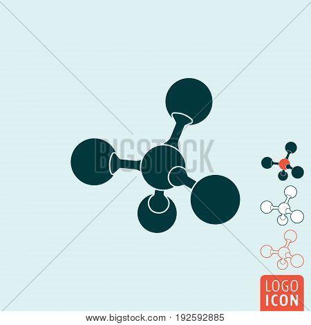 Molecule icon. Atom or ion symbol. Vector illustration