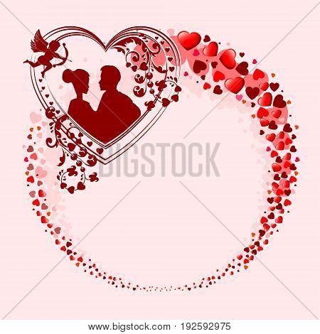 Red design from the silhouettes of the heart in the form of a circle, with the outline of the two lovers,