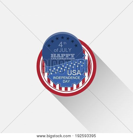 Vector round flat web element for Independence Day with blue pocket dark blue round insert and long shadow on the light gray background.
