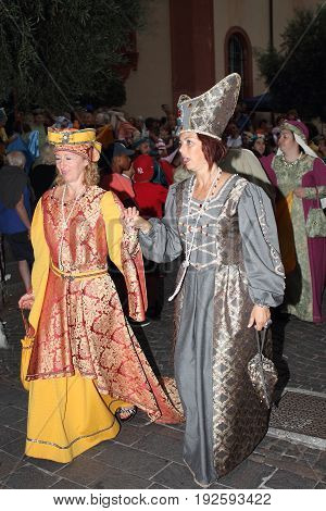 Cogoleto Italia - June 25 2017 - Historical evocation of Cristoforo Colombo's passage from Cogoleto: Queen Isabella of Castile and her bridesmaid.