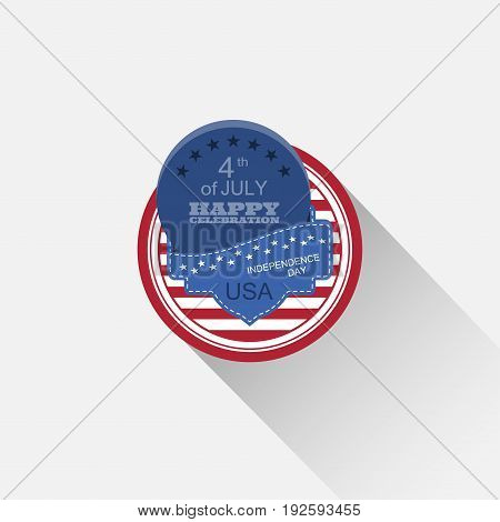 Vector round flat web element for Independence Day with blue pocket blue round insert and long shadow on the light gray background.