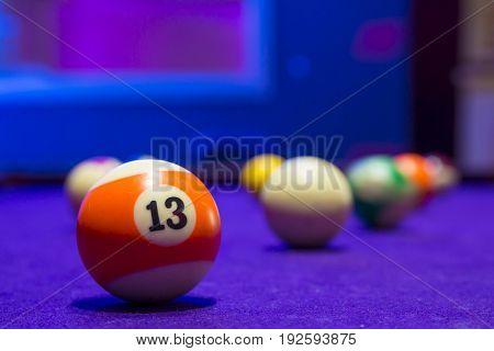 Billiard Balls In A Pool Table