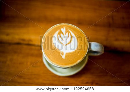 Top view of latte art coffee. backgrounds.