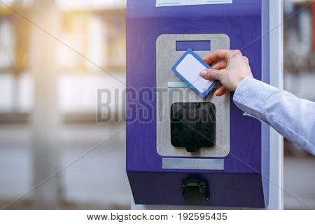 Young female card payment system for fuel