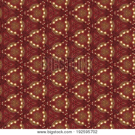 Beautiful mosaic seamless pattern in orange tones.
