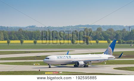 Airliner Boeing 767 Of United Airlines Taxiing In Munich Airport