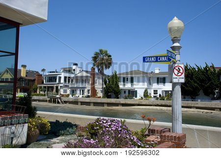 Balboa Island waterfront houses in Newport Beach, Orange County - California