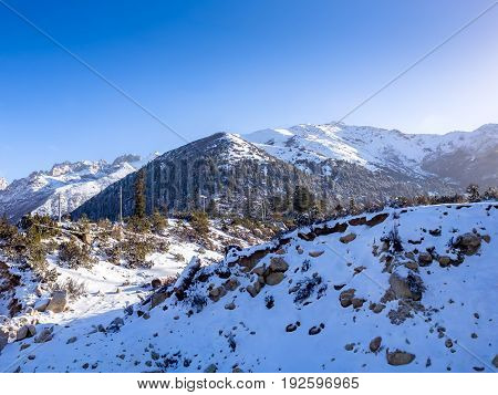Landscape of mountain snow in Sichuan China