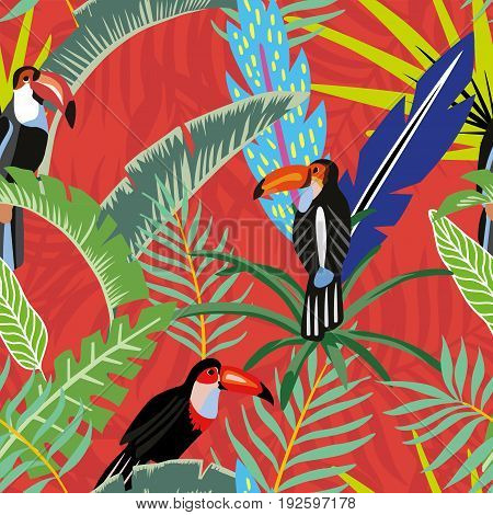 Tropical bird toucan in the jungle on a background of palm leaves in cartoon style. Beach wallpaper seamless pattern on a red orange background