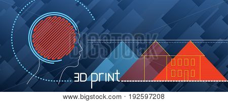 Set Illustration About 3D Printing, Printer, Filament, G-cod, Modeling, Prototype, Background
