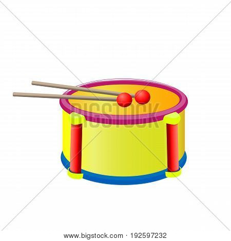 Drum with sticks children's musical instrument isolated on a background. Vector