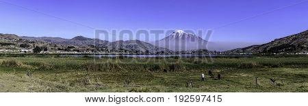 Chimborazo landscape panorama in a sunny day