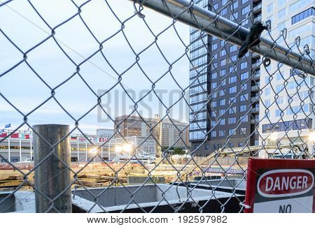 Boston Massachusetts USA - September 1 2016: Early construction work at 50 Liberty project in South Boston