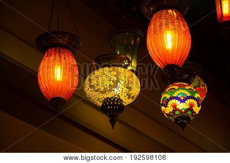 Colorful turkey glass lamps at the Egyptian Bazaar and the Grand Bazaar in Istanbul, Turkey.