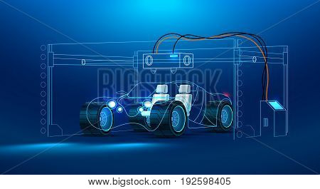 3d prototyping and 3d printing of a car automobiles at a large industrial 3d printer. Abstract the concept car. Concept vector illustration