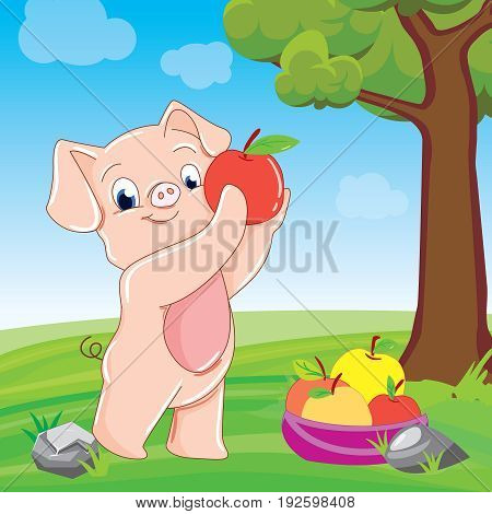 Funny little pig running with tongue out and eyes closed, cartoon vector illustration