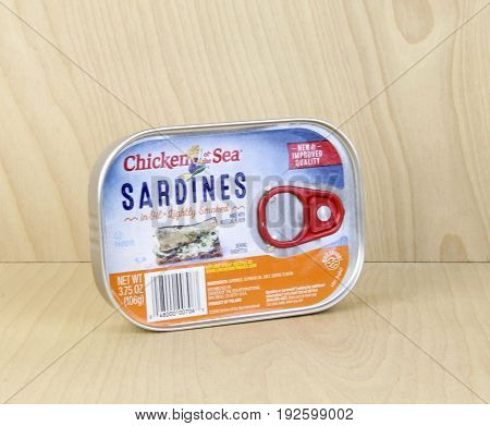 Spencer Wisconsin June 24 2017 Can of Chicken of the Sea Sardines Lightly Smoked Chicken of the Sea is Headquartered in San Diego California and was founded in 1914