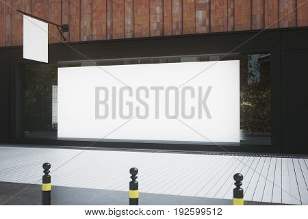 Empty Vitrine With Billboard