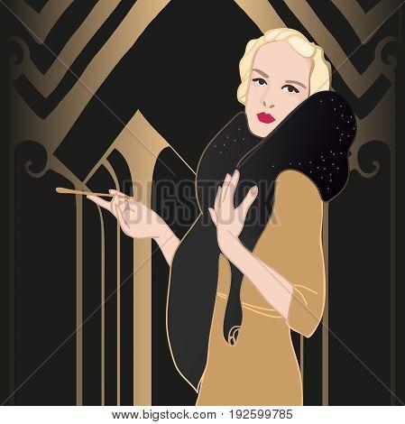Flapper girl set: retro women. Vector illustration