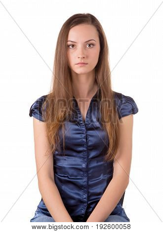 Head and torso of a brown hair lady siting