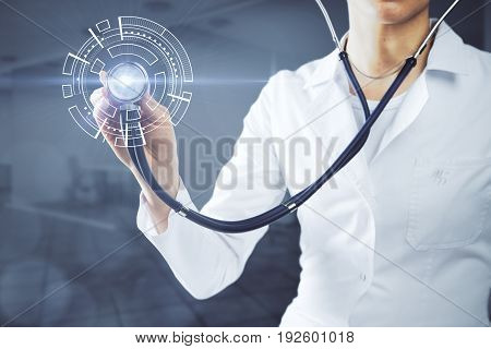 Young caucasian female doctop using stethoscope on abstract digital heart in blurry office interior. Innovation concept. 3D Rendering