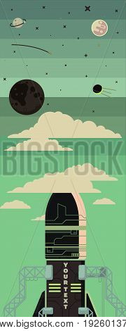 Rocket ship illustration in a flat style. Space travel, rocket launch to the moon. Project start up and development process. Innovation product, creative idea. Management.