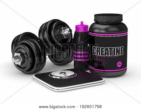 3D Render Of Creatine Powder, Dumbbells, Scale And Shaker