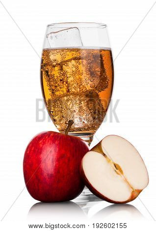 Glass With Ice Of Apple Cider With Fresh Apple