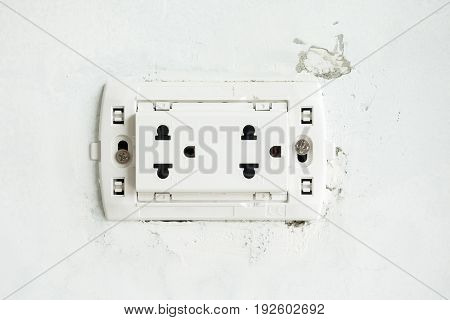 The Electric Socket With No Cover Plate On Unfinish Wall At Construction Site